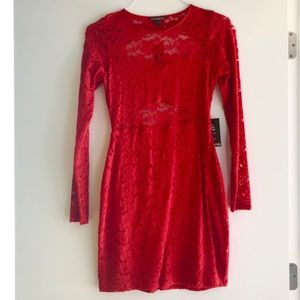 NEW Express Small Red Lace Open Back Dress